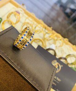 nhẫn kim tiền nam nữ mệnh MỘC - THỦY chạy 2 viền đá xanh dương