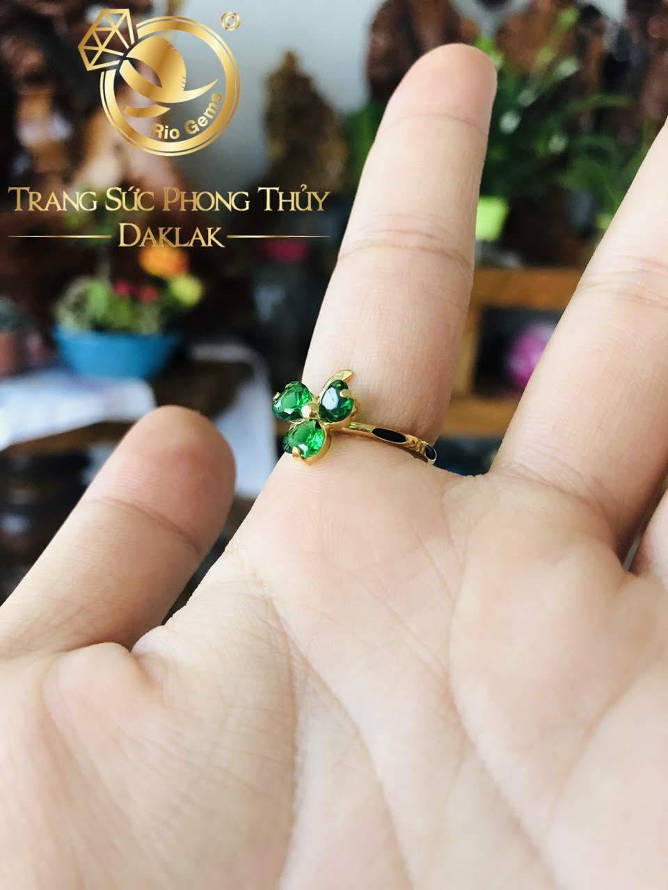 Nhẫn lông đuôi voi nữ cỏ 3 lá đẹp