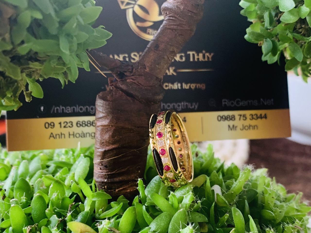 Nhẫn lông voi 2 sợi 1 hàng đá tấm đỏ phong thủy RioGems