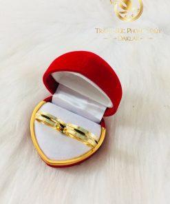 Cặp nhẫn lông voi 2 viền vàng phong thủy RIOGEMs
