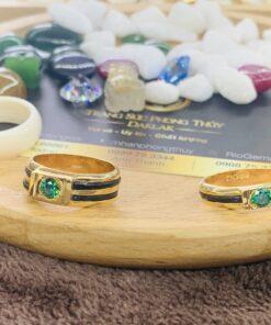 Cặp nhẫn lông voi đính đá CZ xanh lá RIOGEMs