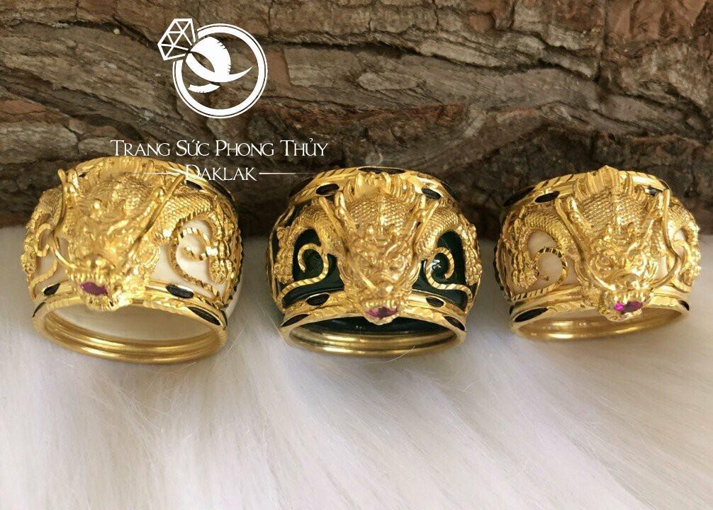 Nhẫn lông voi hình rồng vàng chất