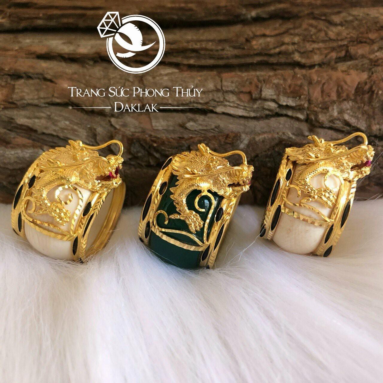 Nhẫn lông voi hình rồng vàng đẹp
