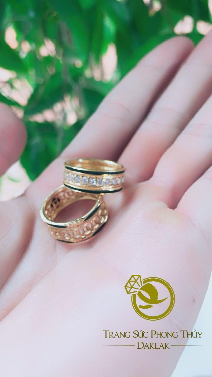 Nhẫn lông voi kim tiền nữ đính ngọc rẻ