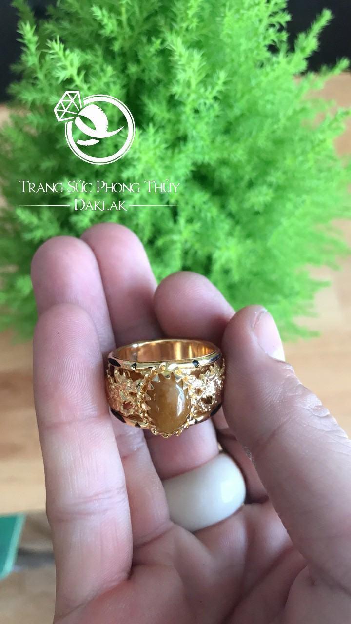 Nhẫn lông voi may mắn song long thạch anh vàng chất