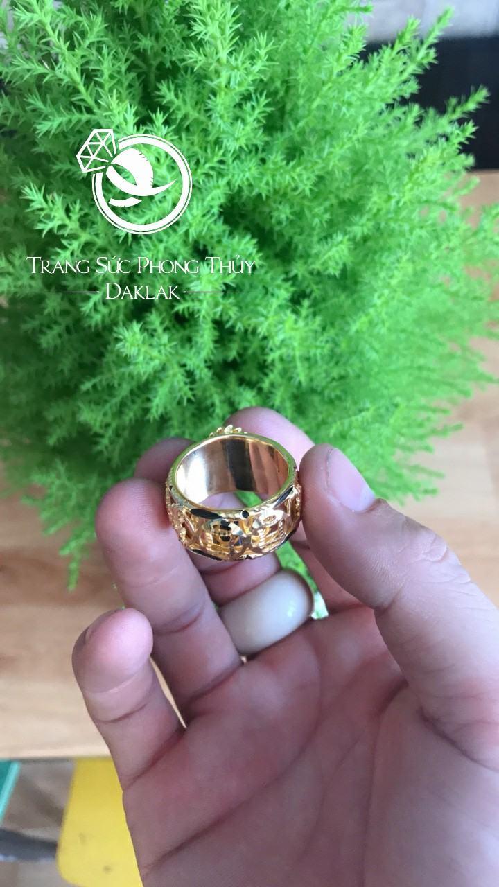 Nhẫn lông voi may mắn song long thạch anh vàng đẹp