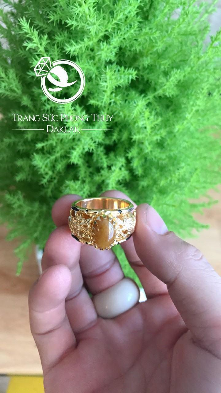 Nhẫn lông voi may mắn song long thạch anh vàng rẻ
