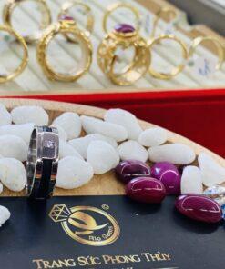 Nhẫn lông voi nữ vàng trắng 1 sợi Handmade