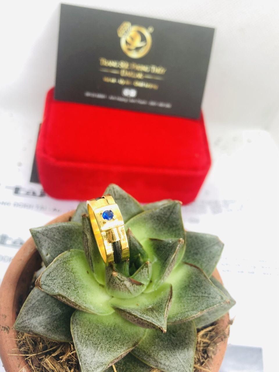 Nhẫn nam vàng mặt đá vuông Tourmaline xanh dương 3li (Lông FAKE) hỗ trợ khắc tên