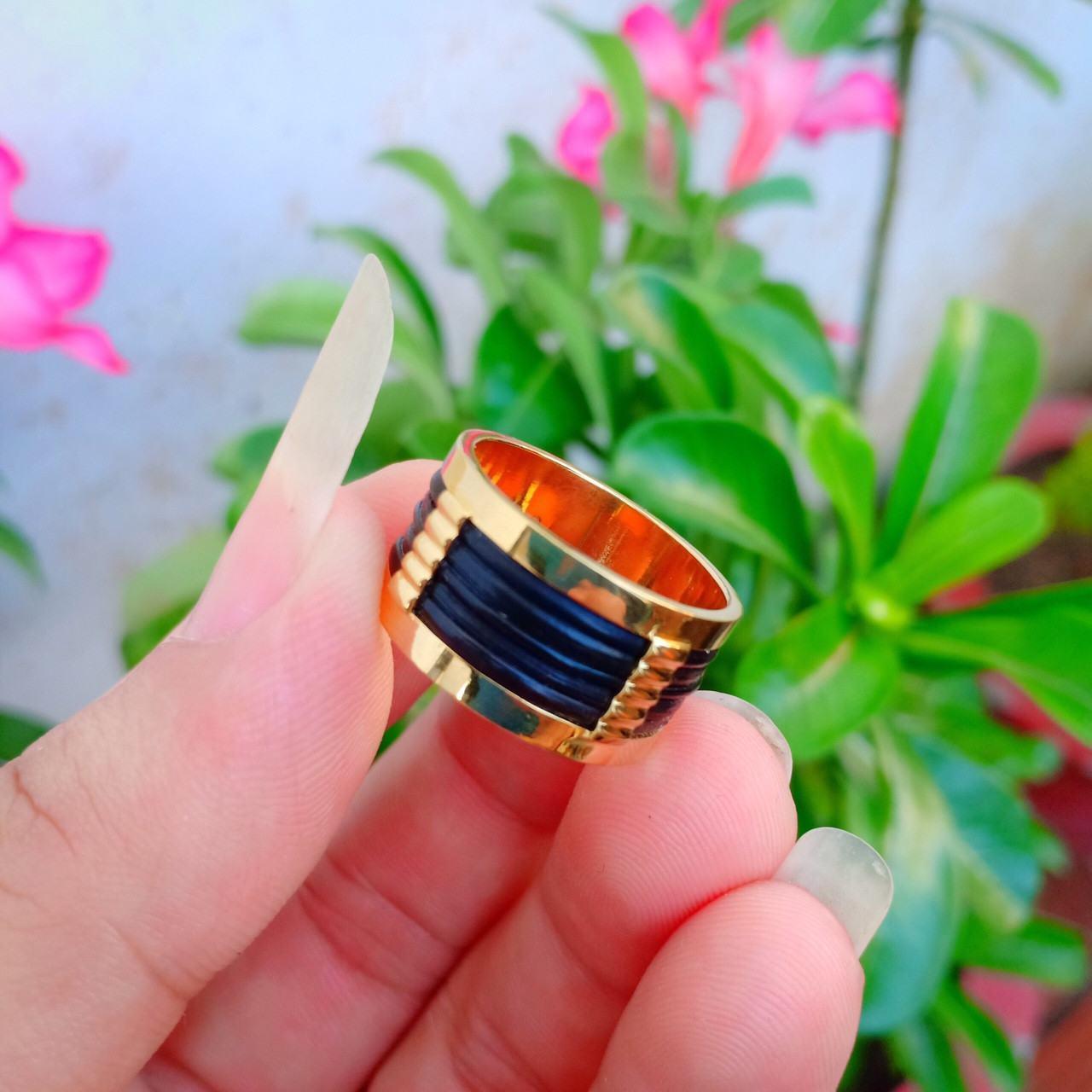 Nhẫn lông voi phong thủy làm tay 5 sợi vàng Riogems
