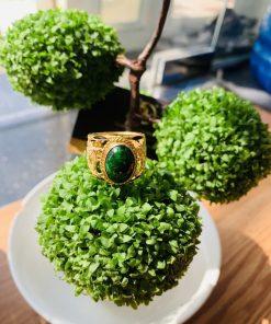 Nhẫn lông voi phong thủy – Nhẫn Rồng Rồng Saphia xanh lá Riogems