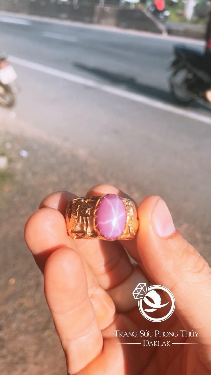 Nhẫn lông voi phong thủy rồng ngựa rubi sao đẹp