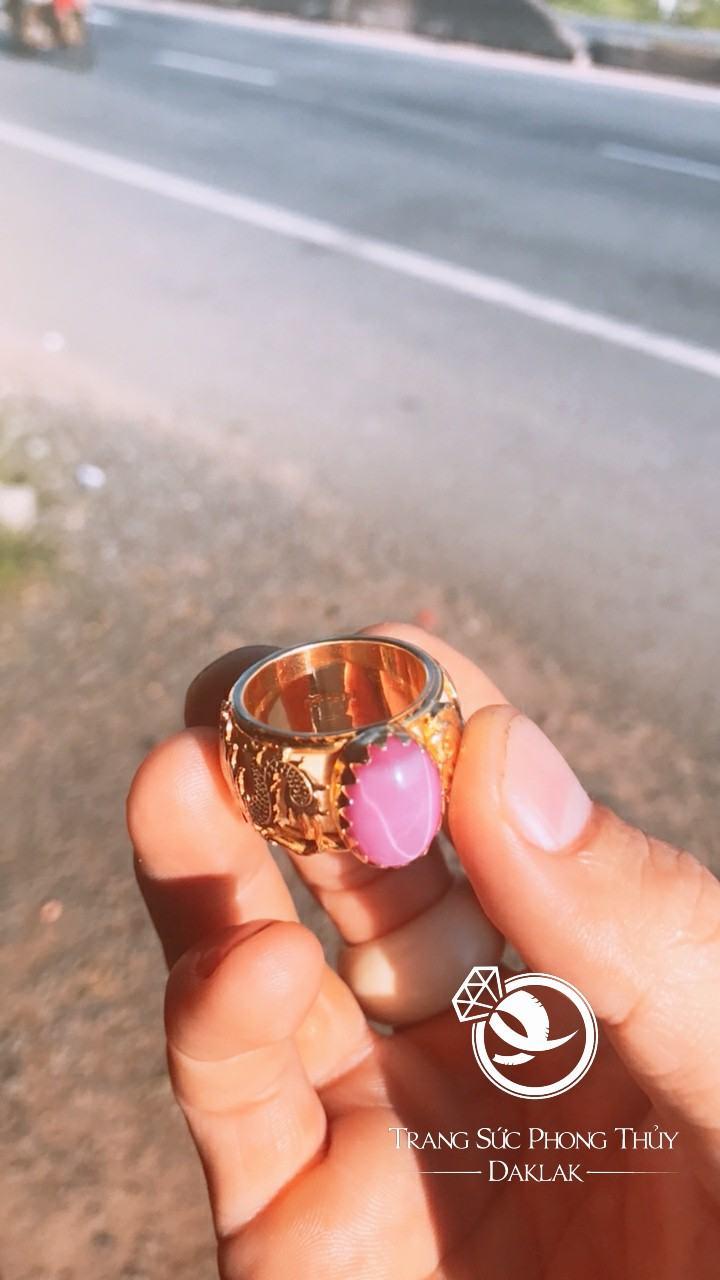 Nhẫn lông voi phong thủy rồng ngựa rubi sao rẻ