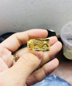Nhẫn lông voi phong thủy Rồng Rồng chầu ngọc vàng Riogems