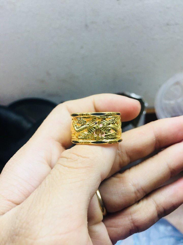 Nhẫn Rồng Rồng vàng 18K đính đá Cz