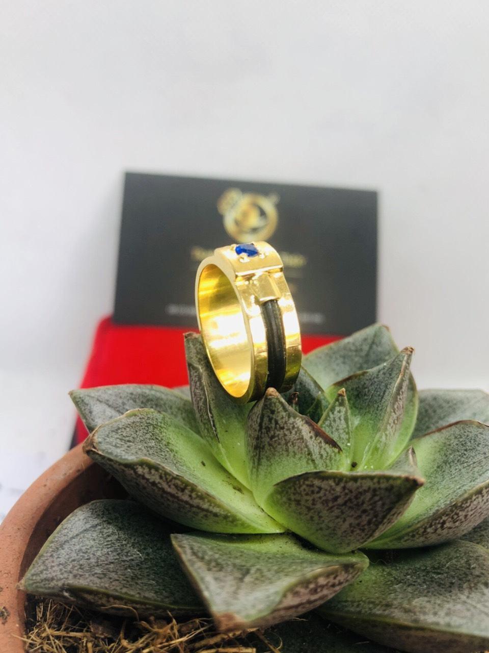 Nhẫn nam vàng mặt đá vuông Tourmaline xanh dương giá trị cao