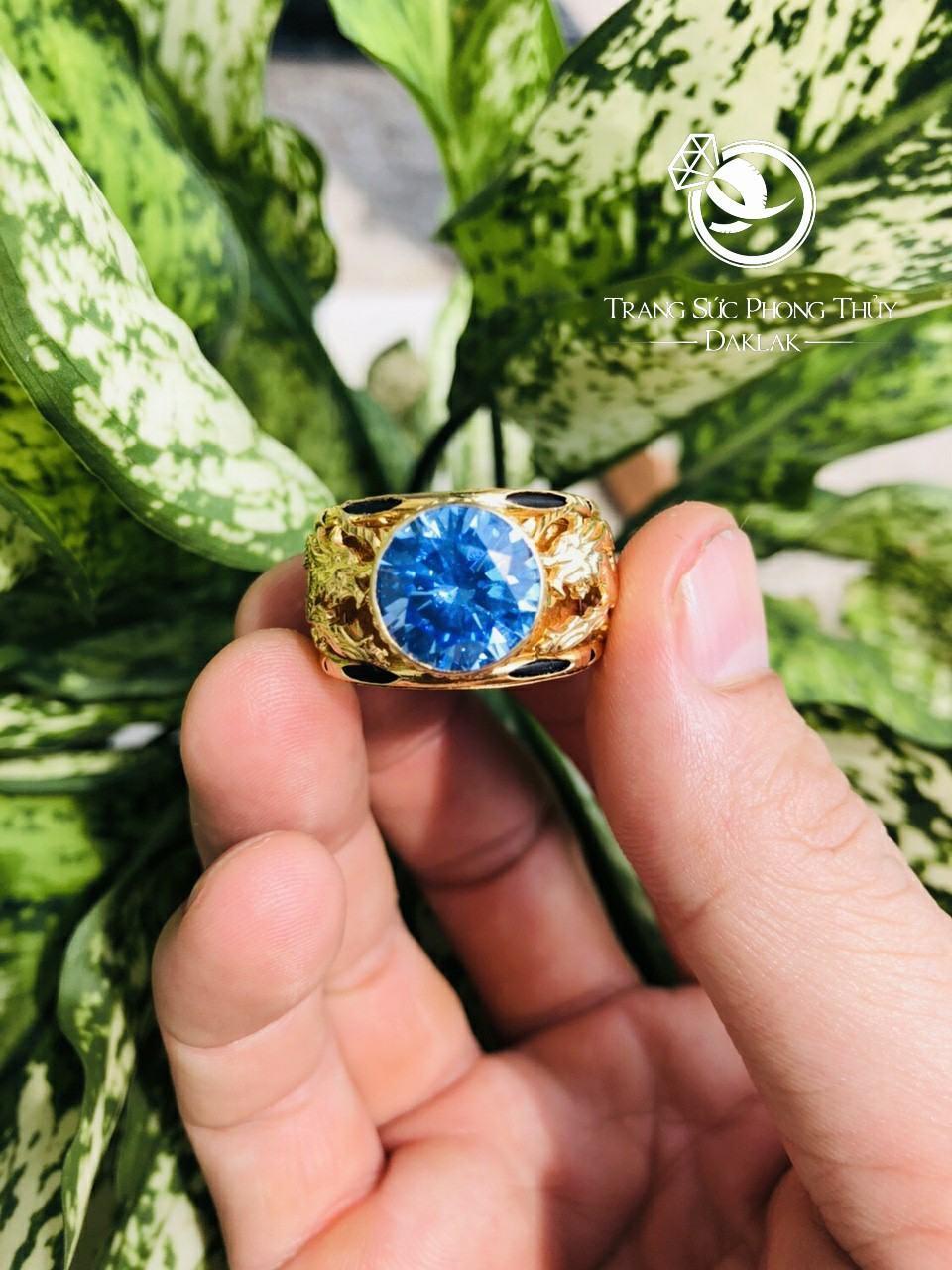 Nhẫn lông voi rồng đá xanh chất
