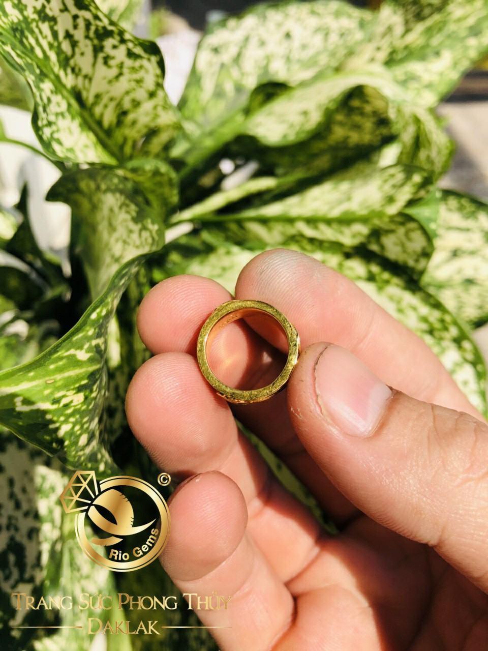 Nhẫn lông voi vàng tài lộc đồng tiền chất