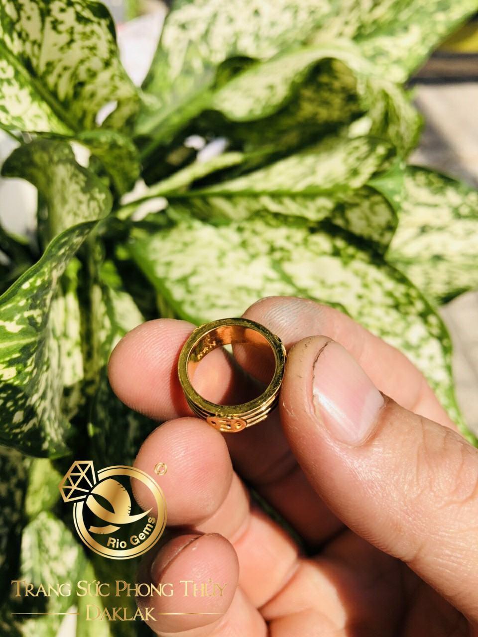 Nhẫn lông voi vàng tài lộc đồng tiền Riogems