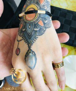 nhẫn lông voi tài lộc ngón út 2 lông 3 đồng tiền