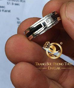 Nhẫn lông voi vàng trắng đính đá Cz cho nam