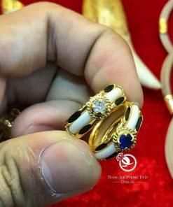 Nhẫn nữ vàng 18K dính đá nhân tạo màu hợp MỆNH giá trị cao
