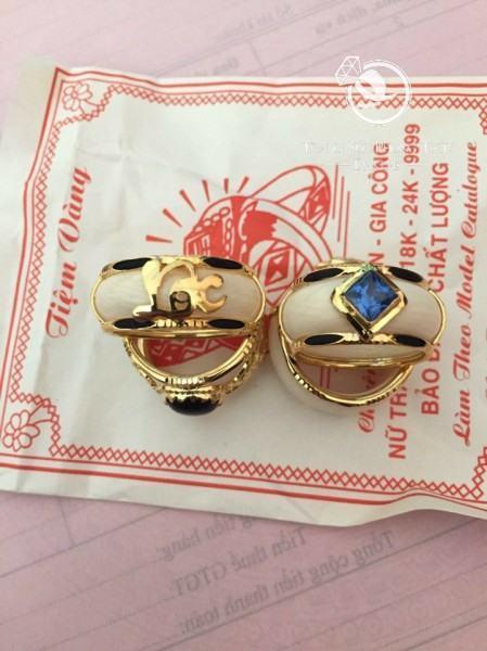 Nhẫn nam vàng 18K hợp phong thủy đính đá Topaz