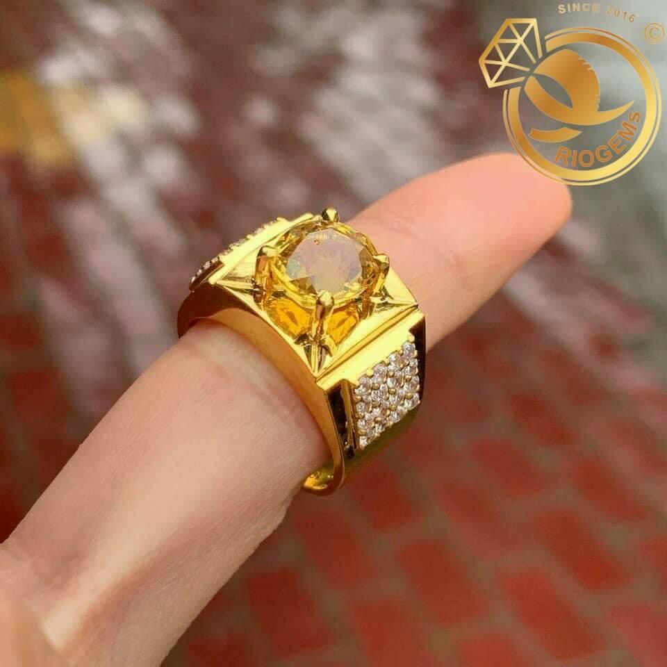 Nhẫn nam vàng đính đá Citrine (cỡ trung)