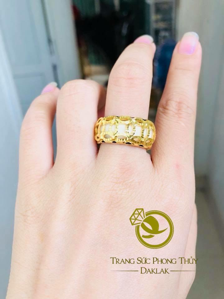 Nhẫn nữ 5 đồng tiền VÀNG 18K phong thủy chất