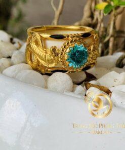 Nhẫn lông voi đẹp 2 Rắn hạt xanh lục chầu ngoc Cz