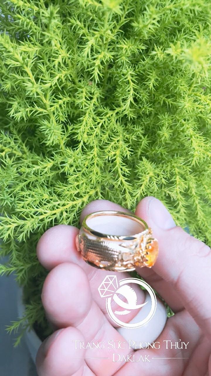 Nhẫn nam 2 CÁ CHÉP đá vàng phong thủy