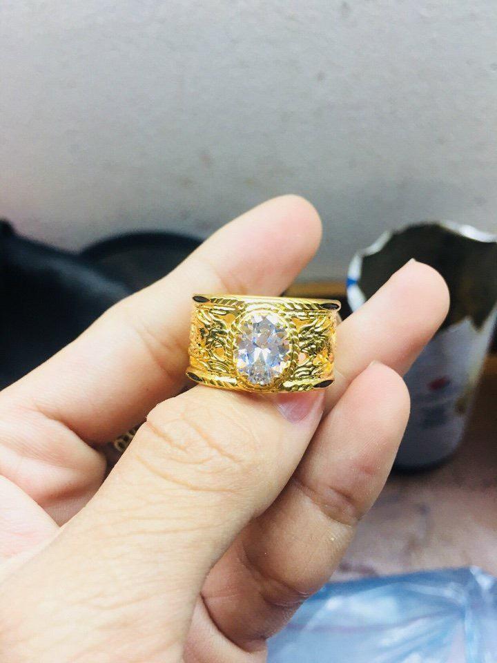 Nhẫn Rồng Rồng vàng 18K đính đá Cz trắng