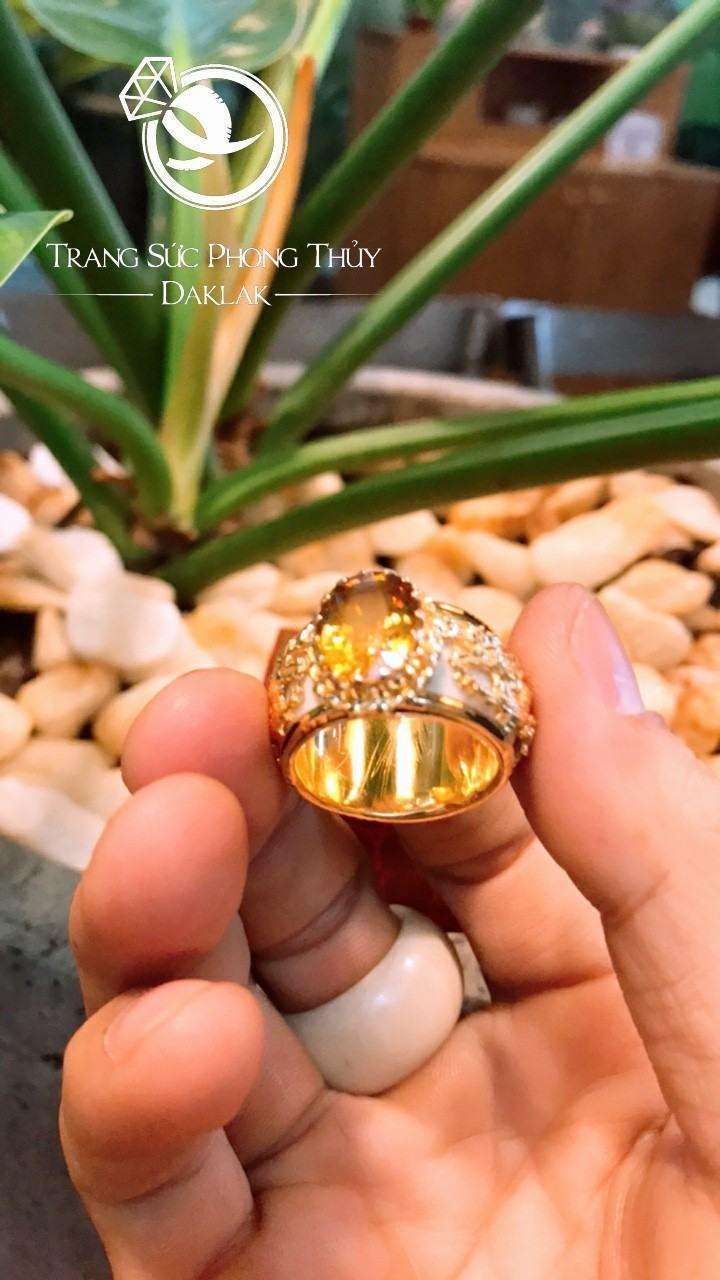 Nhẫn phong thủy cho nam lông voi đá vàng đẹp