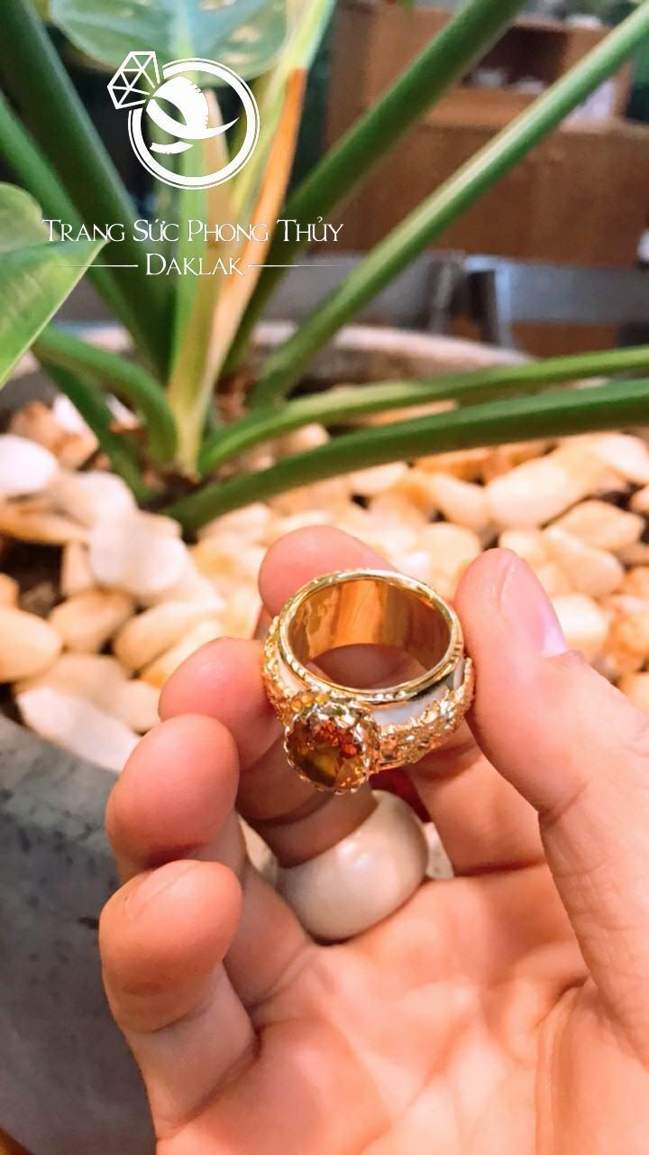Nhẫn phong thủy cho nam lông voi đá vàng hot