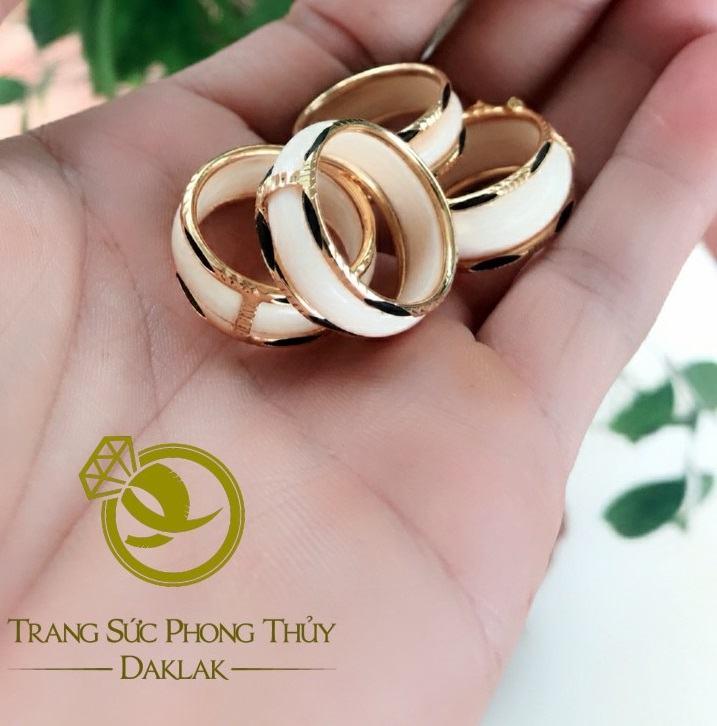 Nhẫn phong thủy lông voi viền bằng vàng chất
