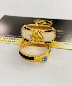 Nhẫn phong thủy mệnh Thổ giác lòng vàng Riogems