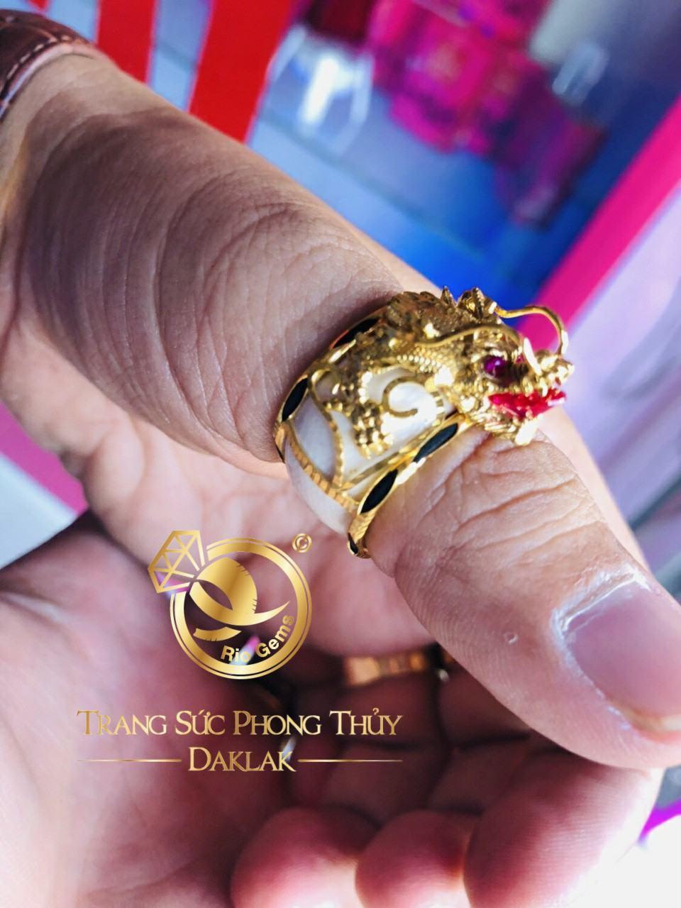 Nhẫn phong thủy đẹp rồng 3D có tay giá rẻ