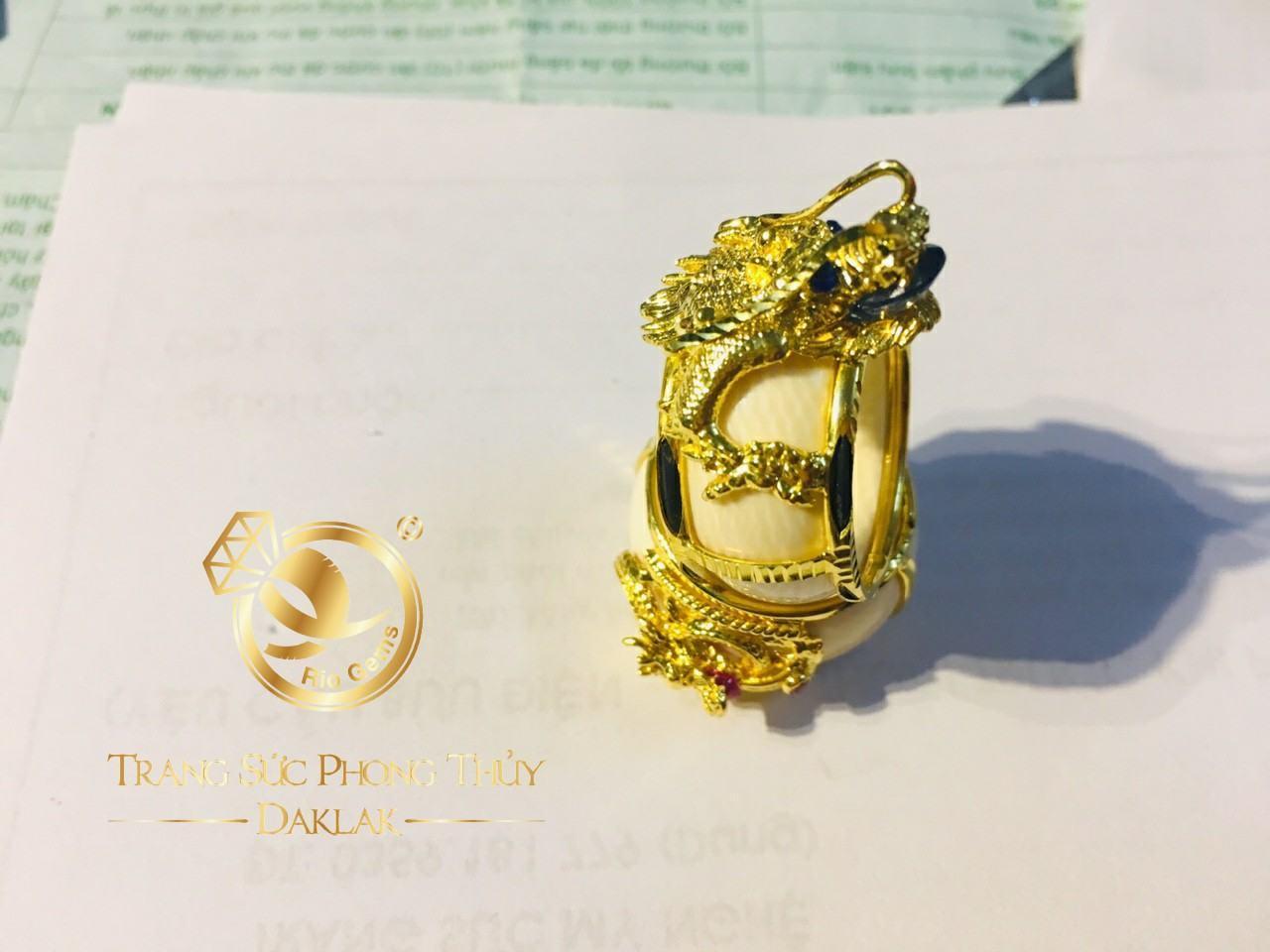 Nhẫn phong thủy đẹp rồng 3D có tay tphcm