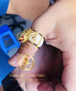 Nhẫn phong thủy đẹp rồng 3D vàng