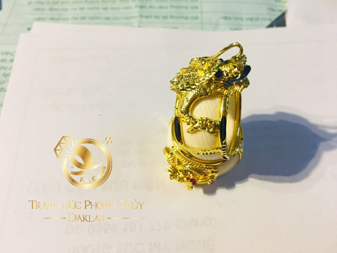Nhẫn phong thủy đẹp rồng 3D vàng giá tốt