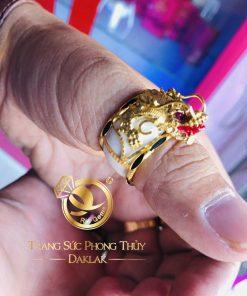 Nhẫn phong thủy đẹp rồng 3D vàng tinh tế