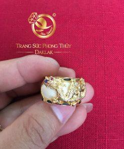 Nhẫn phong thủy rồng bay vàng 18K chất