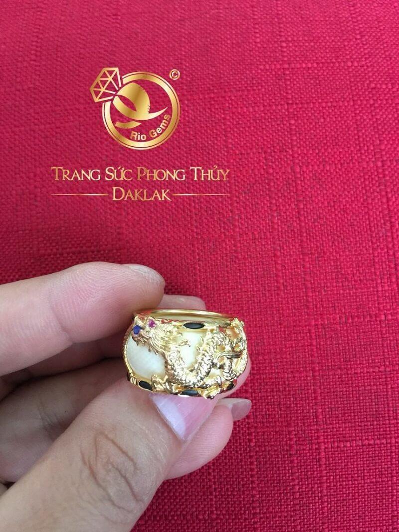 Nhẫn phong thủy rồng bay vàng 18K (đeo ngón cái, Nhẫn trắng FAKE) đẹp