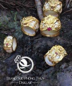 Nhẫn phong thủy đẹp rồng 3D vàng cực chất