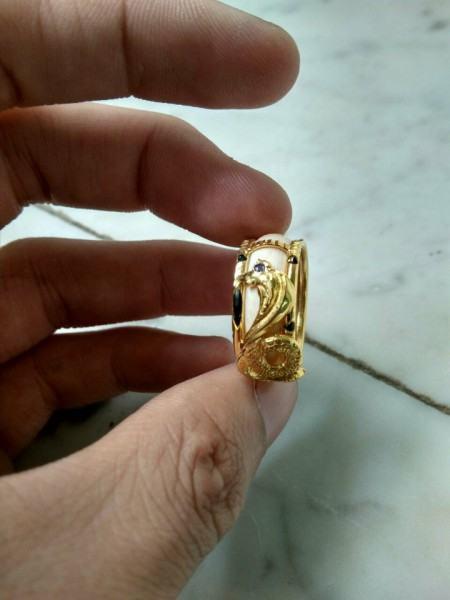 Nhẫn phong thủy tuổi rắn cao cổ VÀNG 18K (Nhẫn trắng FAKE) loại tốt