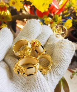 Nhẫn rồng thè 3D vàng phong thủy thời trang