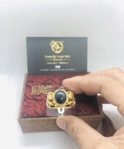 Nhẫn Rồng Rồng tranh ngọc Saphia đen Phan Thiết 2 viền lông voi Phan Thiết Riogems