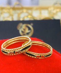 Cặp nhẫn lông voi nữ chạy 2 viền vàng phong thủy RioGems