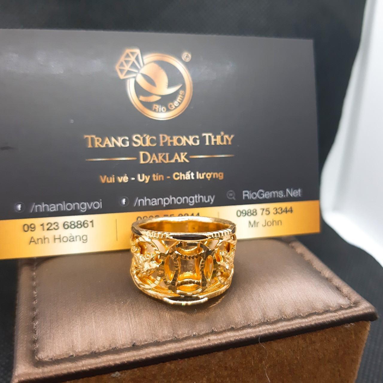 Nhẫn lông voi phong thủy 2 rồng 1 đồng tiền vàng Ý Riogems