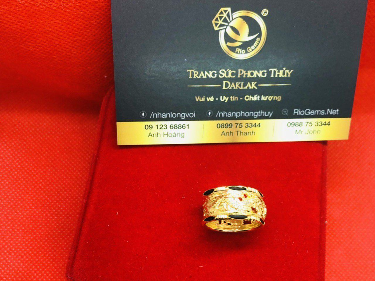 Nhẫn lông voi phong thủy 2 Rồng vàng 10K Riogems